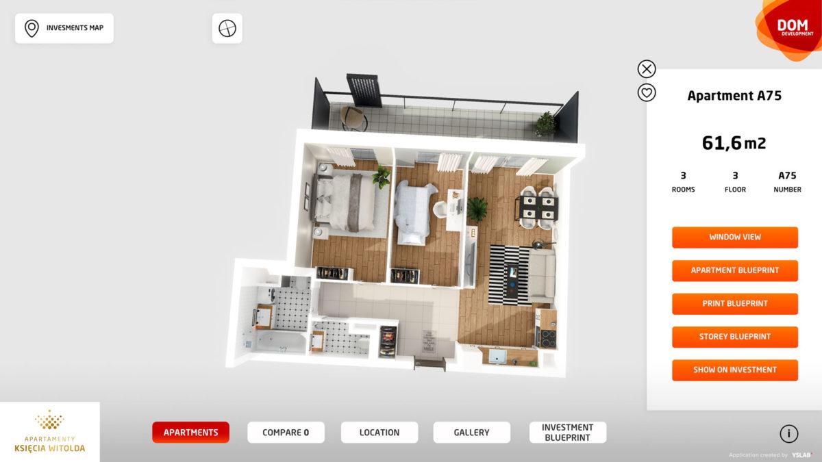 Widok mieszkania w 3D